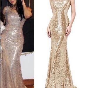 Maxi gold sequin formal dress